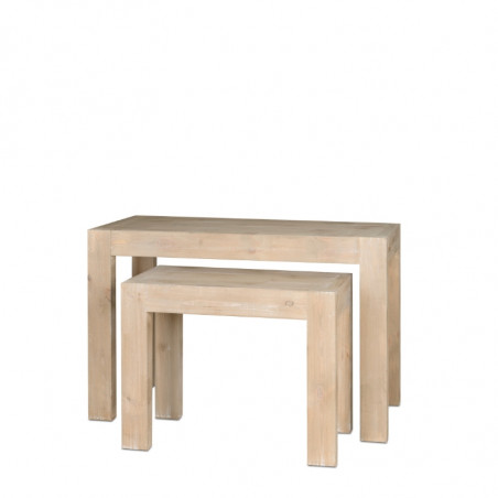 Set of 2 nesting tables, solid wood